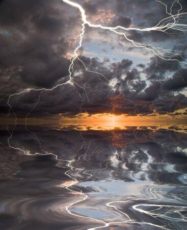 Lightning on sunset sky background photo