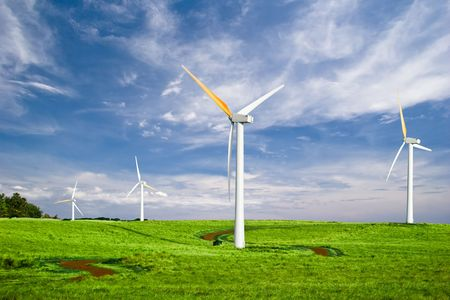Windmills with Blue Sky photo