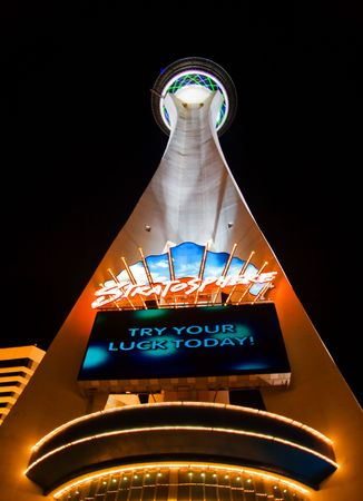 stratosphere: LAS VEGAS - MAY 1: Night lights of the Stratosphere Tower invites vacationers to play in the casino and try luck on May 1, 2007. Stratosphere is located on the main Boulevard on the Las Vegas Strip.