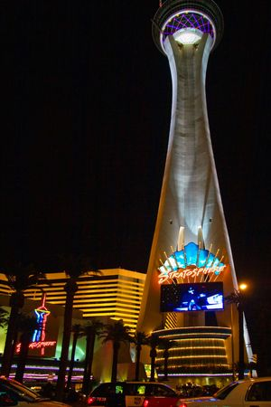 vacationer: LAS VEGAS - MAY 1: Night lights of the Stratosphere Tower invites vacationers to play in the casino and try luck on May 1, 2007. Stratosphere is located on the main Boulevard on the Las Vegas Strip.