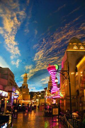 mile: LAS VEGAS - MAY 2: Miracle Mile Shops in the Aladdin hotel stylized as Arab town, decor showing the painted sky on May 2, 2007.
