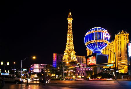LAS VEGAS - MAY 2: Night View from Strip on the replica of Eiffel Tower at Paris Hotel & Casino on May 2, 2007, NV. Designed after 1920s Paris with replicas of the Eiffel Tower and Arc de Triomphe.
