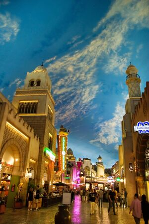 LAS VEGAS - MAY 2: Miracle Mile Shops in the Aladdin hotel stylized as Arab town, decor showing the painted sky on May 2, 2007. It has a 475,000 square foot, 1.5 mile long, enclosed shopping mall. Stock Photo - 6887016