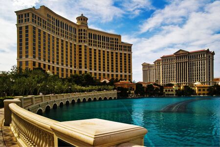LAS VEGAS - MAY 2: An artificial lake in which daily occurs dancing musical fountain show in front of the Bellagio and Caesar on May 2, 2007. Hotels stands as an expression of luxury living in Vegas Stock Photo - 6887018