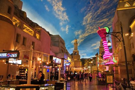 mile: LAS VEGAS - MAY 2: Miracle Mile Shops in the Aladdin hotel stylized as Arab town, decor showing the painted sky on May 2, 2007. It has a 475,000 square foot, 1.5 mile long, enclosed shopping mall.