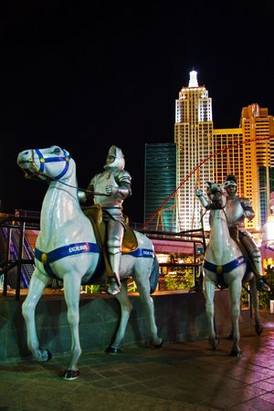 LAS VEGAS - MAY 3:Models of knights on horseback of Excalibur Hotel&Casino against a background of New York-New York Hotel&Casino on May 3, 2007 in Las Vegas