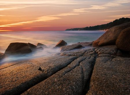 Beatiful sunset in the sea photo