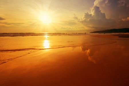 Beatiful sunset in the sea