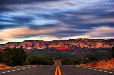 After sunset on road from Zion Canyon photo