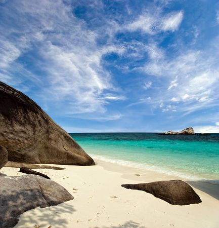 uninhabited: White sand tropical beach. Photographed on uninhabited island Tulai, near Tioman island. Malaysia Stock Photo