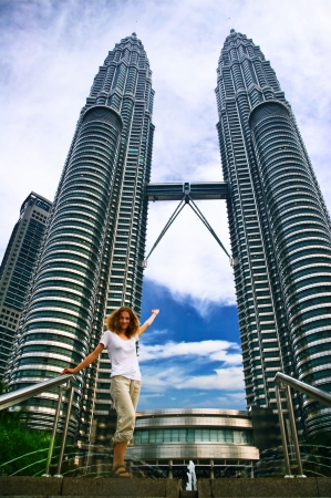 Girl on Petronas towers background