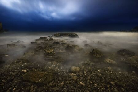 budva: Stormy night on the stones beach. Budva. Montenegro