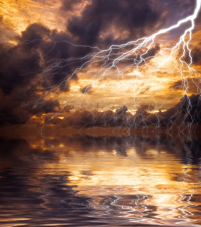 Reflection of lightning in the water  photo