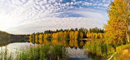 Stitched Panorama of autumnal lake photo