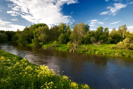 Summer river under blue sky  Stock Photo - 7970631
