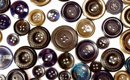 Collection of vintage sewing buttons isolated in white  photo