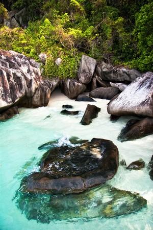 White sand tropical beach. Photographed on uninhabited island Tulai, near Tioman island. Malaysia  photo