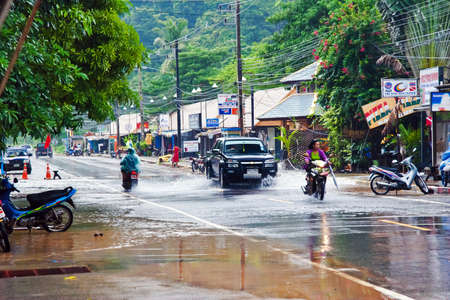 The rainy season in Thailand. One of the streets on the island of Koh Chang.