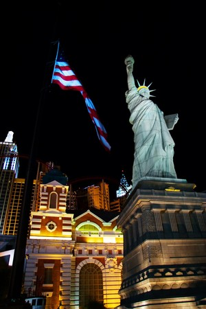 LAS VEGAS- MAY 1: A replica of the Statue of Liberty lays outside the New York New York Casino on May 1, 2007 in Las Vegas. The original Statue of Liberty was presented to the USA by France in 1886.  Stock Photo - 8151948