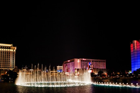 LAS VEGAS - MAY 2: Musical fountains of Bellagio Hotel on Flamingo Casino background on May 2, 2007. The show takes place every 30 minutes in the afternoons and evenings, and every 15 minutes from 8 to midnight.