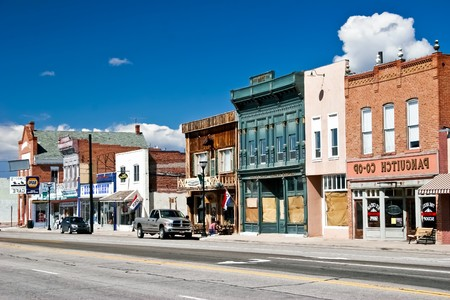 west usa: PANGUITCH, UT - MAY 7: Morning day at authentic street in style wild west on 7 may, 2007 Panguitch, UT. First settled by Mormon Pioneers in 1864 Panguitch is a Paiute Indian word, meaning