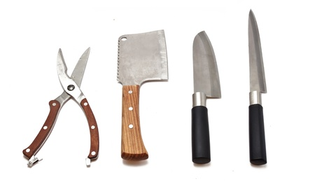 meat cleaver, kitchen scissors and knives isolated on white background  photo