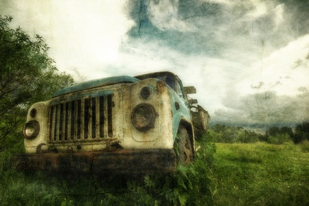 Old lorry in the field in retro style Stock Photo - 8684582