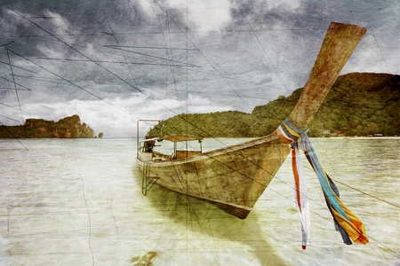 hai boat in the tropical sea in grunge and retro style. Thailand