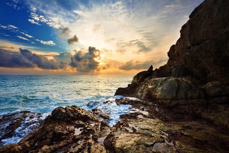 Tropical sunset at the beach. Thailand Stock Photo