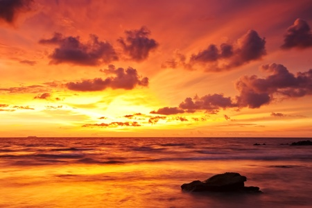 red sunset: Tropical sunset at the beach. Thailand Stock Photo