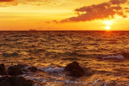 Tropical sunset at the beach. Thailand  photo