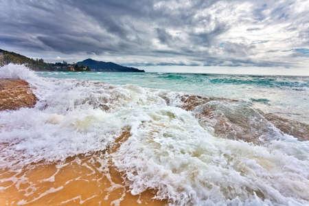 gloomy weather at tropical beach photo