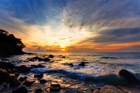 Colorful sunset in the tropical sea. Thailand