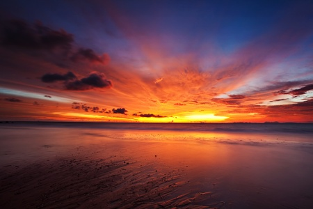 Colorful sunset in the tropical sea. Thailand photo