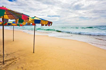 tropical beach under gloomy sky