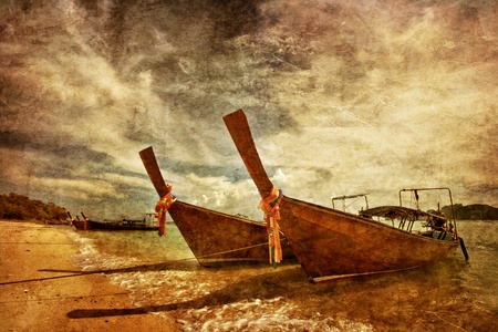Thai boat in the tropical sea in grunge and retro style. Thailand