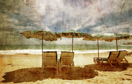 Tropical beach in grunge and retro style  Stock Photo