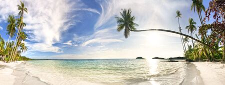 Stitched Panorama of tropical beach. Thailand