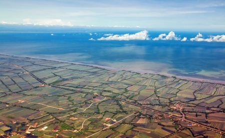 Aerial view of farmland near the Bangkok. Thailand  photo