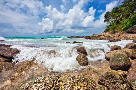 Exotic tropical beach under blue sky. Thailand  Stock Photo - 9843505