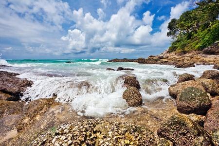 Exotic tropical beach under blue sky. Thailand Stock Photo - 9843505
