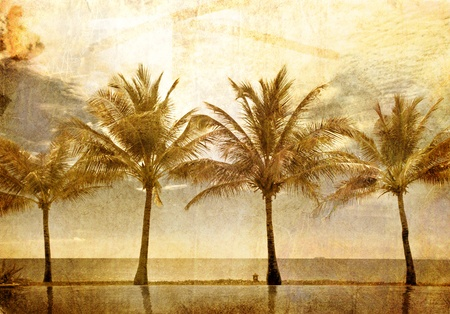 reflections of palms in the pool in grunge and retro style