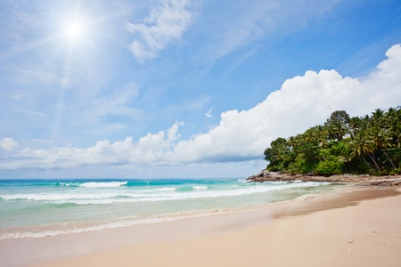 Exotic tropical beach under blue sky. Thailand Stock Photo - 9969814
