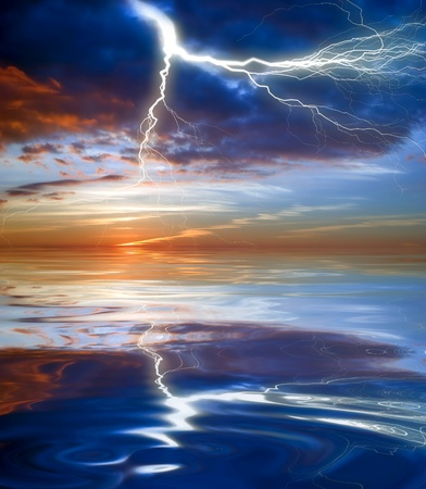 Lightning above the sea with reflections. Thailand  photo