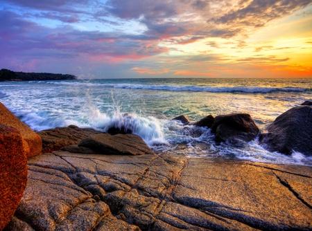 Gloomy tropical sunset at the beach. Thailand  Stock Photo - 9969833