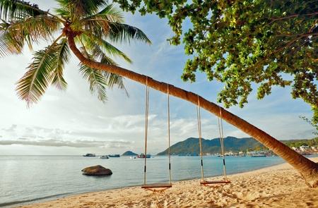 Exotic tropical beach under blue sky. Thailand