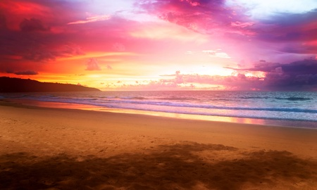Tropical colorful sunset at the beach. Thailand Stock Photo - 10066065