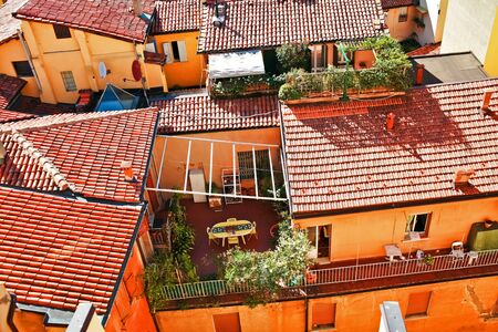 Aerial view of red roofs in Bologna. Italy  photo