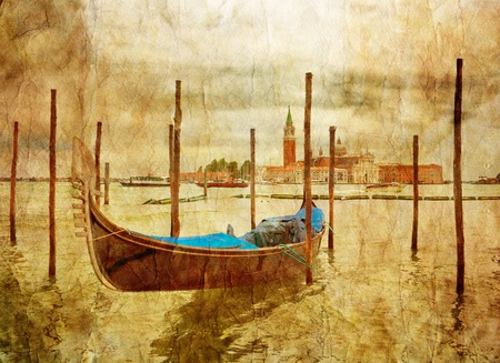 Boat in Venice in gloomy weather in grunge style. Italy photo