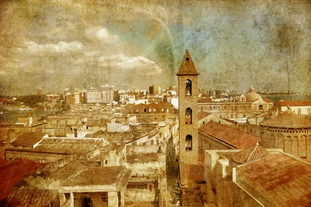 View on Naples old town under blue sky in grunge style. Italy photo